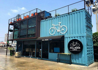 China Blue Color Commercial Metal Building Kits Flexible Assembly For Coffee Shop / Cafe supplier