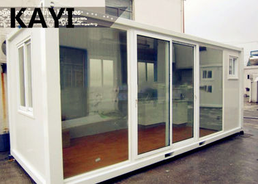 China Charming Steady Mobile Container House Red Floor Panel PVC Window With Decoration supplier