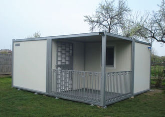 China Villa Modular Container House , Gray And White Tiny House Container With Fence supplier