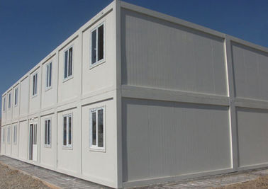China White Prefabricated Container House Two Stories With External Stairs And Eaves supplier