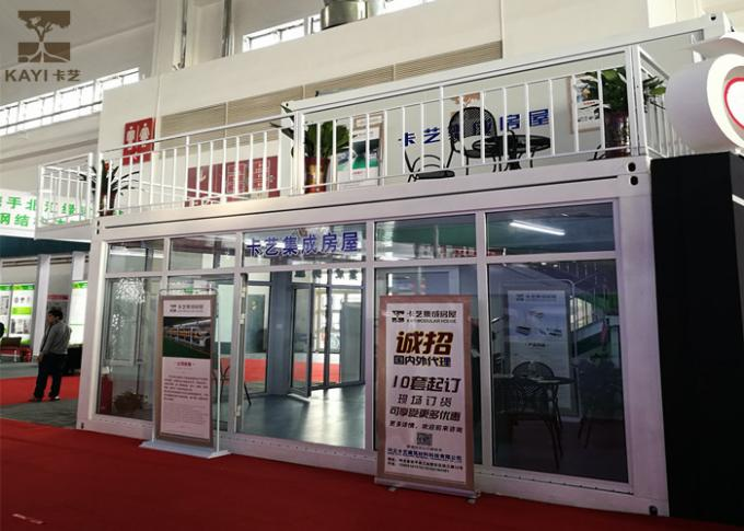 Two Stories Prefabricated Container Homes Glass Wool Material With Double - Glazing