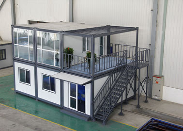 Gray Residential Prefab Container House Comfortable 6000mm * 2438mm * 2891mm