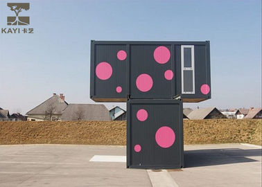 Non - Combustible Flat Pack Container House , Pink And Black Flat Pack Steel Containers
