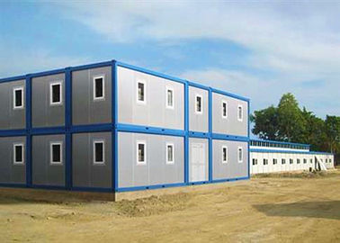 Two Stories Modular Container Homes Blue And Gray With One Sliding Window