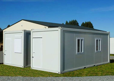 Gable - Roof Modular Container House , Steel Door Fireproof White Container House