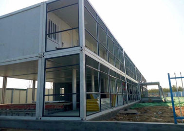 China Dormitory Double Container House Galvanized Steel Frame Structure With Internal Stairs factory